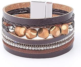 Womens Leather Cuff Bracelet - Braided Wrap Bangle...