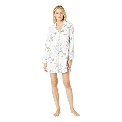 BedHead Pajamas Long Sleeve Classic Notch Nightshirt (Eiffel Snowflakes) Women