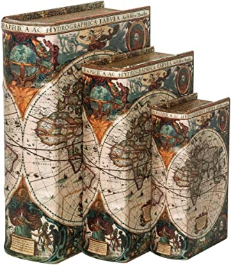 Decorative Book Boxes for Home Decor,Shelf Decor or Table Decor, Faux Books with World Map Pattern, Coffee Table Decor Books