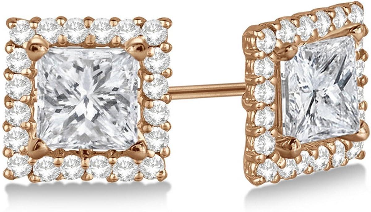14k Gold 1.01 Carat Fancy 8 Millimeter Pave-Set Square Diamond Earring Jackets for Women