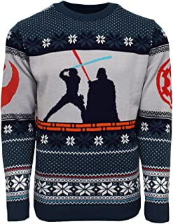 Official Star Wars Luke Vs Darth Christmas Jumper/Ugly Sweater - UK XS/US 2XS Blue