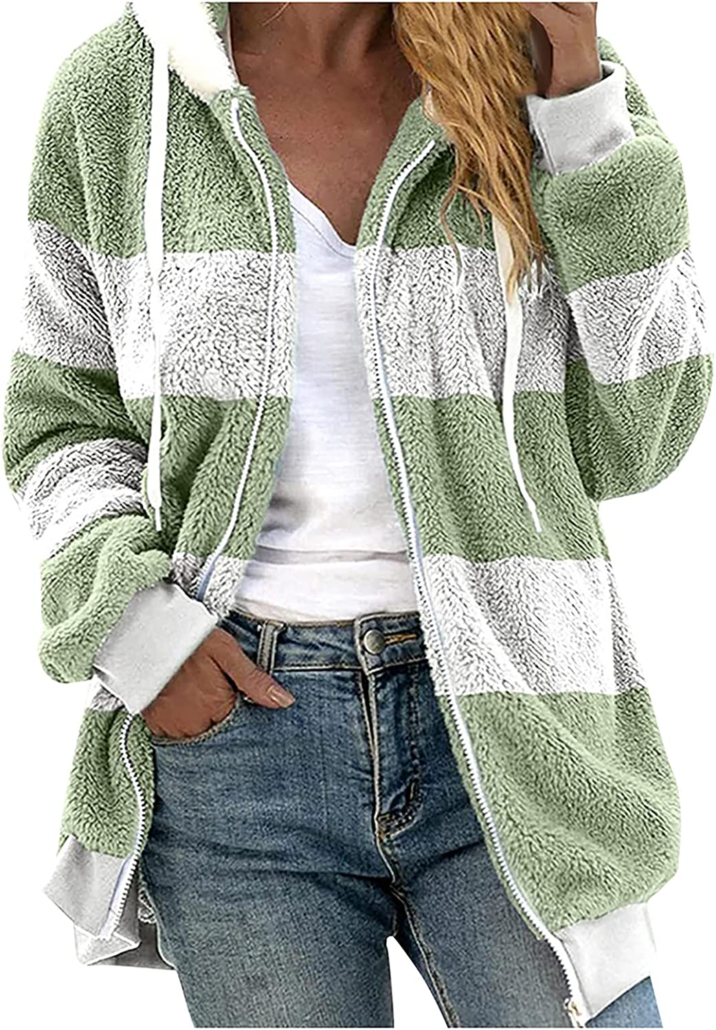 Womens Long Sleeve Patchwork Open Front Hooded Cardigans Fuzzy F