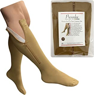 Presadee Premium Closed Toe 20-30 mmHg Firm Compression Zipper Leg Pain Socks (Beige,  4X-Large)