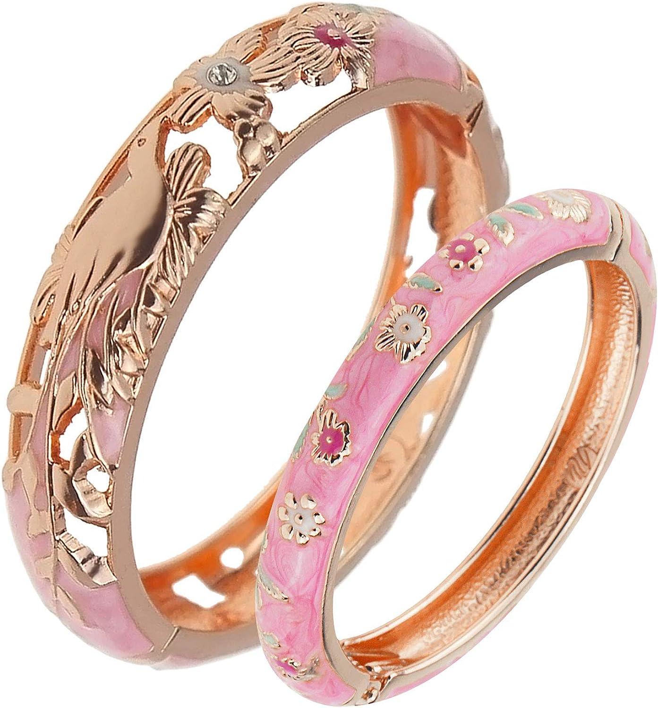 UJOY Girls Women's Bracelets Jewelry Colourful Enameled Flower Birds Hinged Bangles Set as Gifts 55D25-88A31