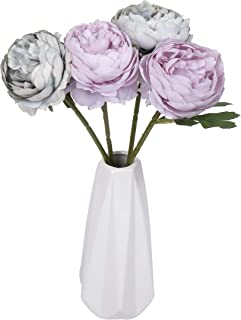 Miss Bloom Artificial Rose 4 Heads with Ceramics Vase | Hydrangea Silk Flowers Desk Decorations for Women Office | Fake Flower Centerpiece Decor for Kitchen Table (Green & Purple)