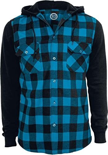 rouge by EMP encapuchonné Checked Flanell Sweat Sleeve Shirt Chemise Noir Turquoise 4XL