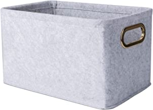 Minoisome Collapsible Storage Bins Foldable Felt Fabric Storage Basket Organizer Boxes Containers with Handles Metal Handl...