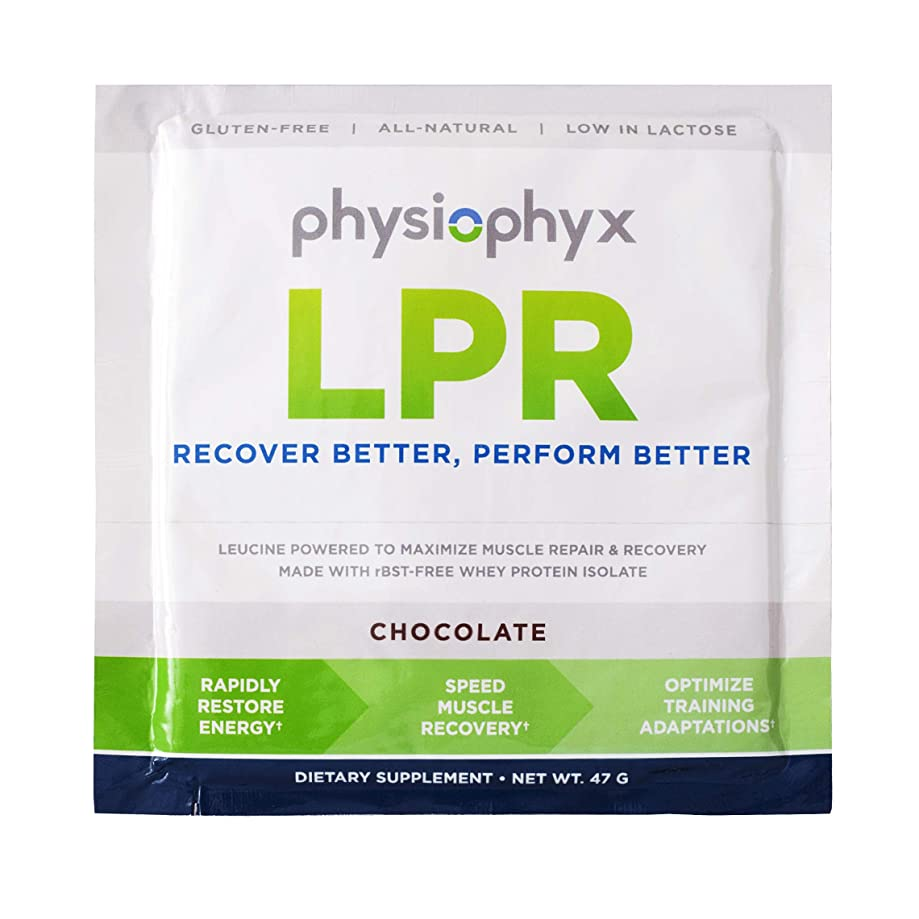 PhysioPhyx LPR Endurance Recovery Protein Drink Powder (Chocolate, 7 Pack Singles) - Grass Fed Whey Protein, Complete BCAA's, Gluten Free, Non GMO, Post Workout Sport Recovery