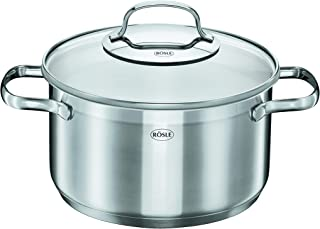 Rosle Stainless Steel Stockpot with Glass Lid, 9.5-inch