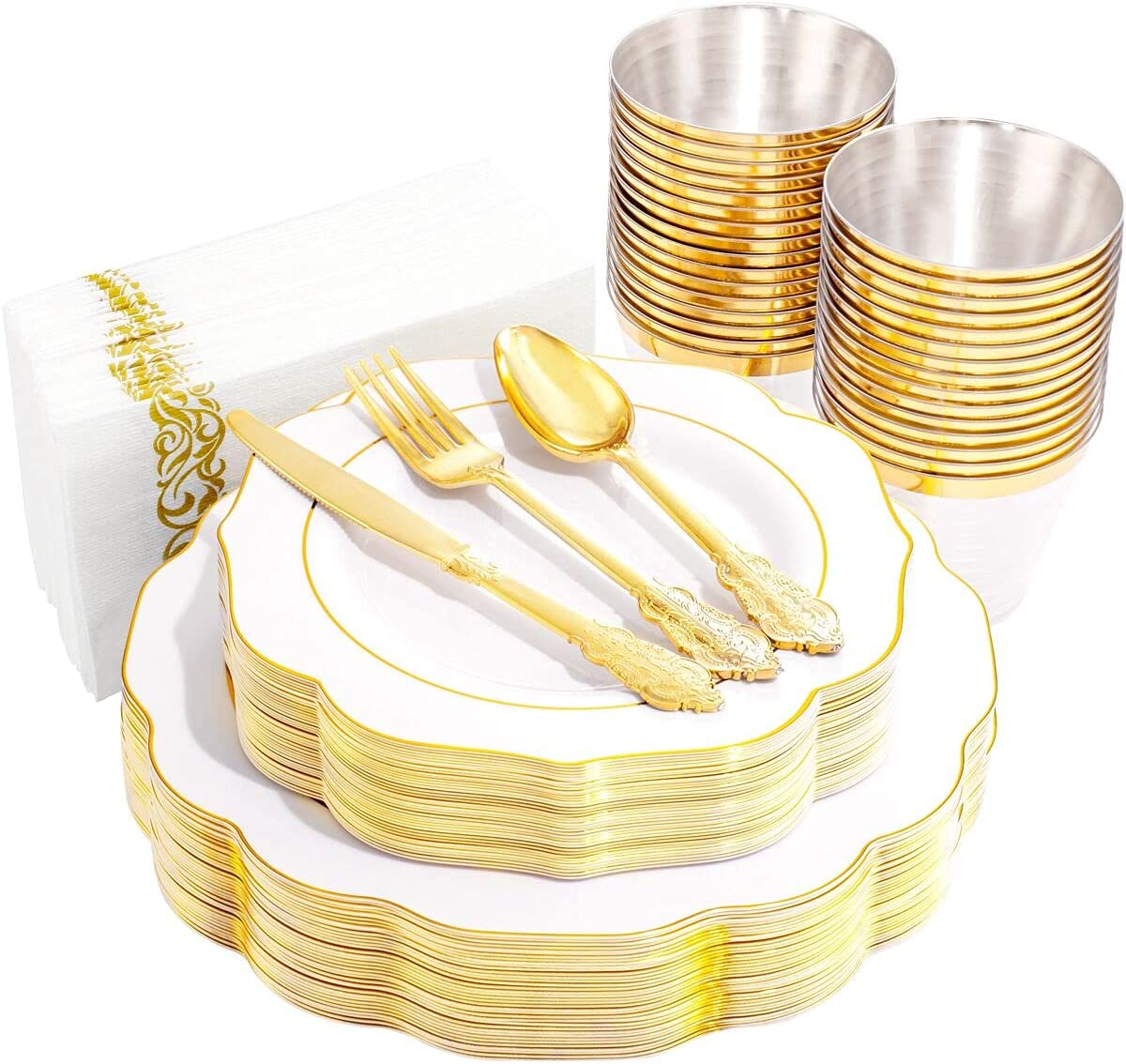 NOCCUR 25Guests White and Gold Disposable Plastic Free Shipping 2021 autumn and winter new Cheap Bargain Gift ut Plates with