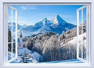 Vue de montagne hivernale effet 3D Vinyle Autocollant Mural Art Décalcomanie Murale