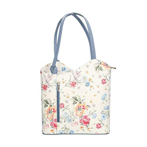 ac19e4f72ce Chicca Borse Woman Shoulder Bag Floral Pattern in Genuine Leather Made in  Italy