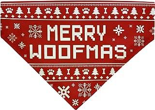 Dog Christmas Outfit Merry Woofmas Dog Ugly Christmas Sweater Themed Dog Bandana Scarf for Dogs Bib