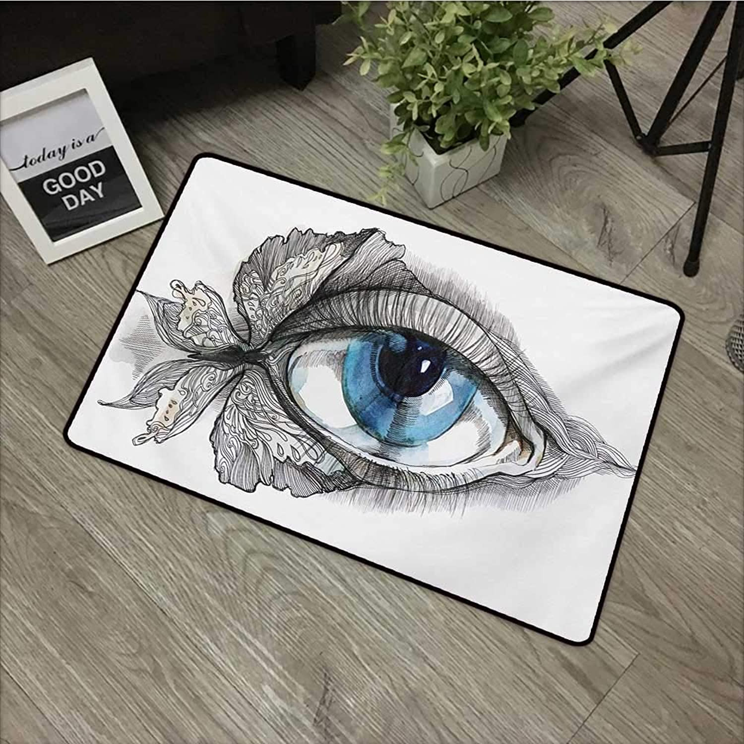 Clear printed pattern door mat W35 x L59 INCH Eye,Abstract Human Eye with Butterfly Eyelashes Painting Style Dreamy Female Look,Black White bluee Non-slip, with non-slip backing,Non-slip Door Mat Carpe