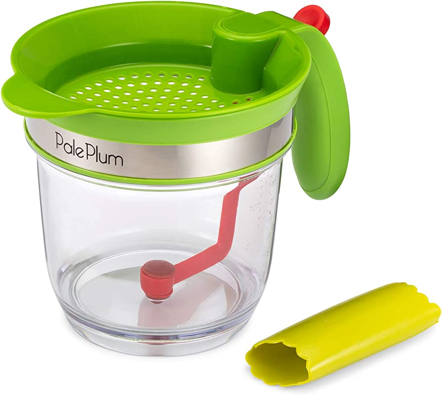 PalePlum Gravy Fat Separator And Cooking Grease Strainer With Easy Release Trigger And Leakproof Stopper Includes Bonus Garlic Peeler 4 Cup Capacity