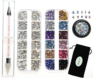 Rhinestone Jewel Pickup Tool,Crystal Studs Wax Pen,Flat Back Rhinestones 6 Size(2-5mm) with Multi Shapes Glass AB Rhinestones for Nails Decoration Crafts Face Art Clothes Shoes Bags DIY-3800 Pcs by MG