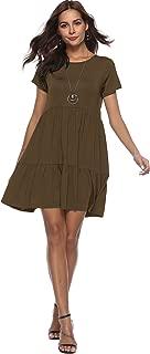 Women Summer Ruffle Loose Swing Casual Short Sleeve Tunics Mid-Length Dress