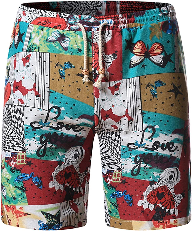 HUOJING Cotton Linen Shorts for Men Ethnic Print Beach Shorts Drawstring Elastic Casual Bermuda Shorts Pants