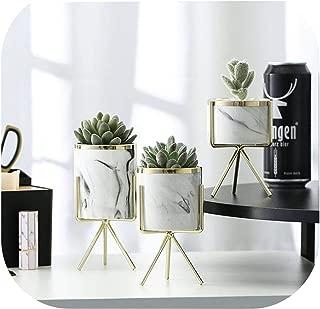 Nordic Marble Pattern Vase Ceramic Iron Art Vase Rose Gold Silver Tabletop Green Plant Flower Pot Home Office Vases Decorative,3Pcs Gold