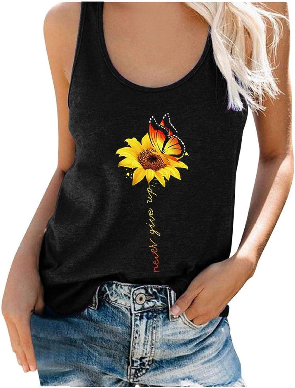 Women's Cute Sunflower Tank Top Summer Funny Sleeveless Graphic Cotton Tees Tops S-3XL