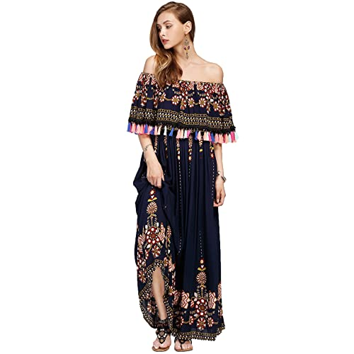 5c25c61612b837 Milumia Women s Off Shoulder Flounce Layered Neckline Tassel Bohemian Maxi  Dress
