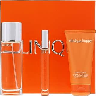 Happy Perfume by Clinique Gift Set for Women 50 ml / 1.7 oz Eau De Parfum Spray, 75 ml / 2.5 oz Body Cream 6 ml Roller Ball