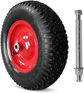 Deuba Rueda para Carretilla de Obra Neumático Reforzado con Eje Carga máxima de 200Kg Ø 390mm Ancho 95 mm jardinería