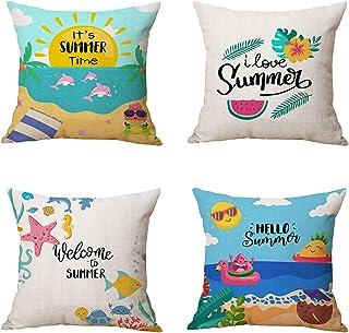 KALEFUL Summer Pillow Covers Summer Decorations 2021 New Beach Tropical Plant Sea Throw Pillowcase Cotton Linen Cushion Case Home Decor 18 x 18 Inch Set of 4