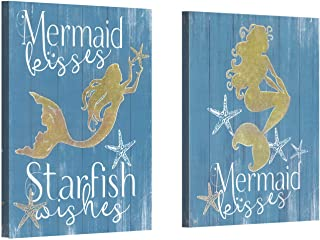 """Mermaid Picture Starfish Artwork Painting: Gold Glitter foils Mermaid & White Words Print Wall Art on Canvas for Bedroom Bathroom (16"""" x 12"""" x 2 Panels)"""