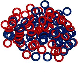 (100 Pack) Soft Stitch Ring Markers, Red & Blue (Small size for needle sizes 0-8, for knitting/crochet/etc)