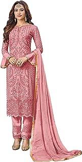 Comet Enterprise Women Regular Georgette Salwar suit (SB 802; Pink_pink_Free Size