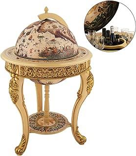 VIDAR Sixteenth-Century Italian Replica Old World Map Parchment Globe Bar Wine Holder 3 Legs in Engraved Golden Composite Plastic Finish