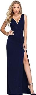 Ever-Pretty Vestido de Fiesta Noche Brillante para Mujer Largo Elástico Dividido V-Cuello 07417
