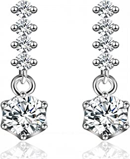 Sukkhi Crystals from Swarovski Drop Down Platinum Plated Earring for Women and Girls (E80758)