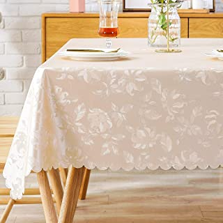 Heavy Duty Tablecloth Vinyl Oilcloth Picnic PVC Wipeable Plastic Spillproof Peva Oil-Proof Waterproof Rectangular Tablecloths for Jacuard Decorative Champagne Flower 6ft 54x72 Inch