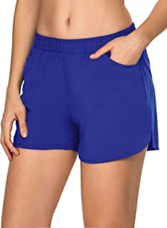 COOrun Women's Yoga Shorts Mid Waist Pocket for Active Fitness Running Exercise Workout