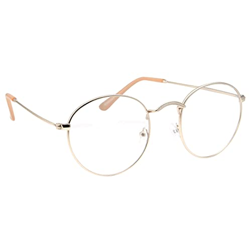 26d76f08b6a Retro Round Clear Lens Glasses Metal Frame