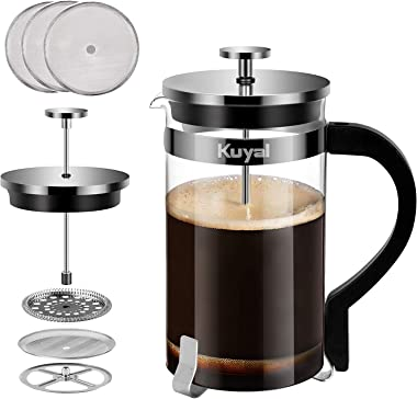 Glass French Press Coffee Tea Maker, 1000ml (34 oz, about 8 cups) Stainless Steel Coffee Press with 3 Extra Filter Screens, Borosilicate Glass with Heat Resistant Handle