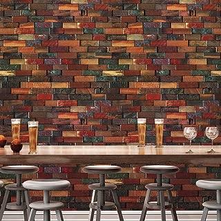JZ·HOMEYT41 Wood Brick Wallpaper Roll,Red/Brown Multi Wooden Blocks Stacked Wallpaper Murals Bedroom Living Room Kitchen Hotels Wall Decoration 20.8in×32.8ft