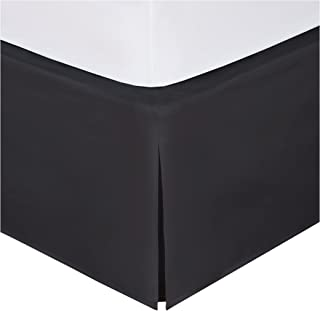 "Magic Skirt Tailored Bedskirt, Never Lift Your Mattress, Classic 14"" drop length, Pleated Styling, King, Black"