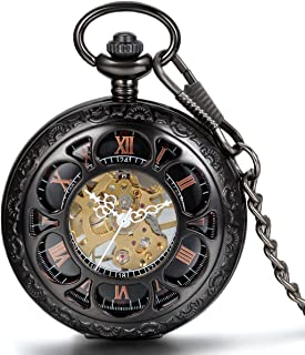 Half Hunter Pocket Watch with Chain Black Dial Steampunk Mechanical Hand Wind Movement