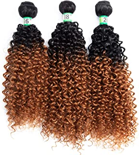 """Two Tone Ombre #T1B/30 Black and Brown Synthetic Kinky Curly Hair Extensions 3Bundles/pack 70G/bundle 16"""" 18"""" 20"""" Synthetic Hair Weave"""
