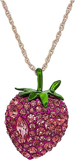 Betsey Johnson Bright Pink Strawberry Pendant Necklace