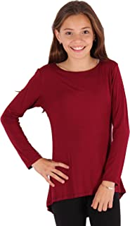 Lori&Jane Long Sleeve Boho Tunic Top Solid Flowy Loose Fit Soft Girls Made in USA