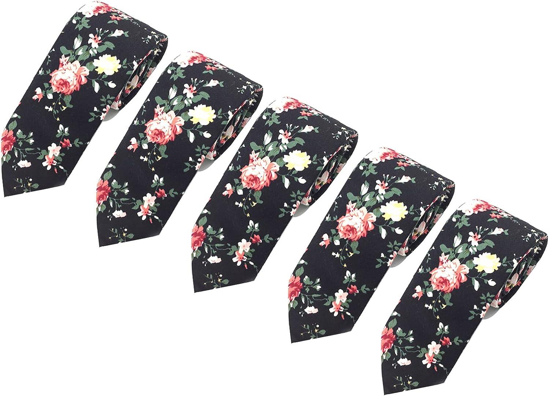 Men's Ties, Cotton Floral Print Slim Skinny Ties for Groom, Groomsmen Neckties Wedding Costume Accessories (5 Pack)