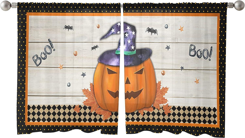Sheer Window Luxury Curtain Panels wholesale Happy Halloween Star Pumpkin Cartoon