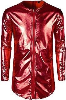 Giacca Uomo Cappotto Manica Lunga Top da Uomo Camicia in Ecopelle T-Shirt Slim Fit Latex Top Lucido Cerniera Lunga Slim Fi...
