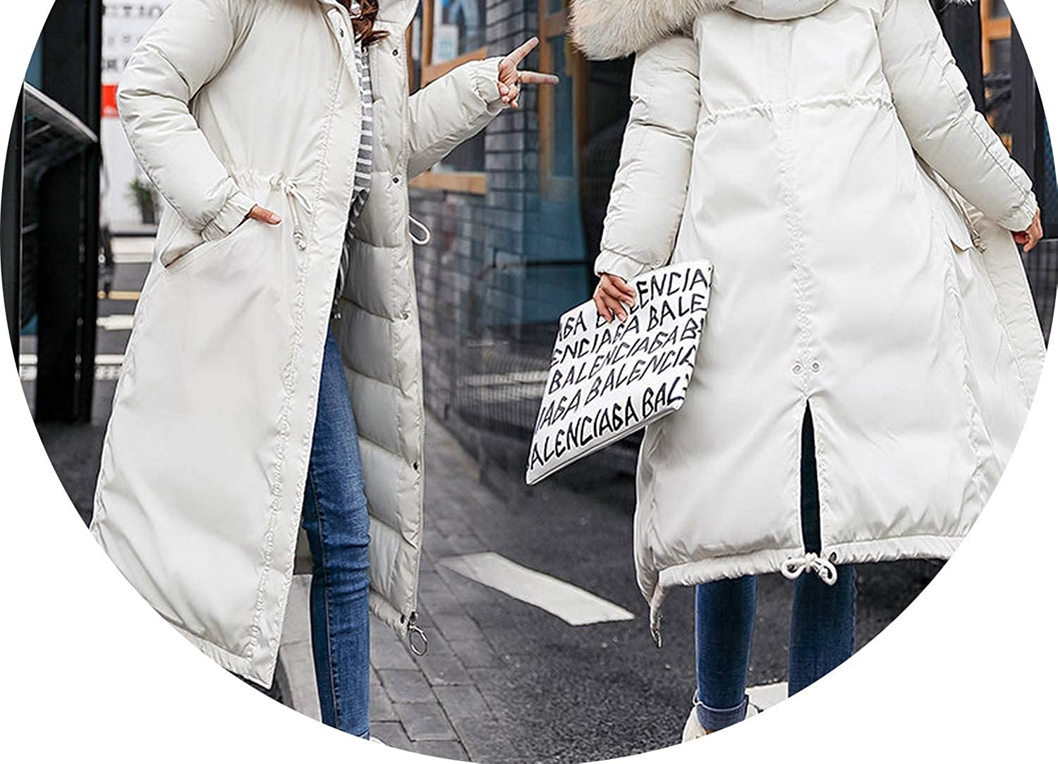 Big Fur Collar Hooded Long Down Coat Winter Thicken Down Cotton Padded Down Jacket