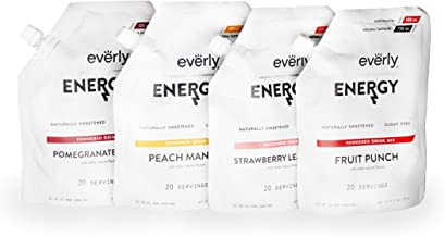 Everly Energy (Variety Pack - 4 Flavors, 4 Pouches) - Sugar Free, Natural Energy Drink Mix Powder, Water Flavoring. 4 X 20 servings.