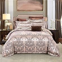 4 قطع ملاءة سرير مجموعة مزدوجة، مجموعة الفراش المزدوجة، حجم كينج سرير من الكتان، غطاء لحاف من الساتان جاكار أغطية سرير سري...